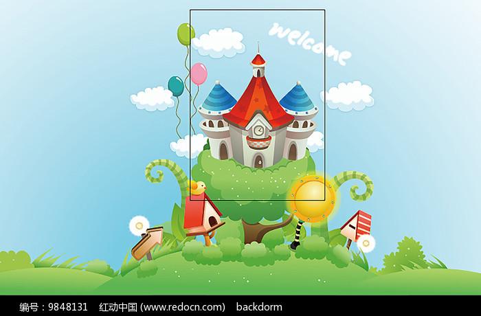 卡通城堡背景图片