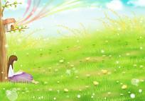 卡通草地背景素材