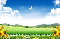 天空草原背景素材