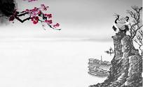 中国风水墨画PSD分层