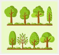 翠绿色树木设计矢量图