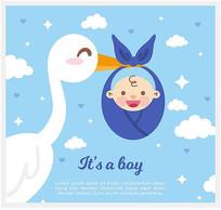 卡通送子鹤和婴儿矢量图