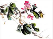 中国水墨插画PSD
