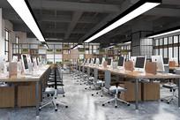 大型公共办公区3D模型素材