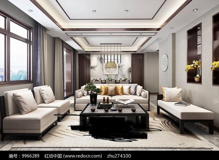 新中式客餐厅3d设计模型