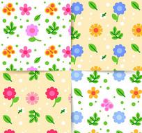 春季小花朵无缝背景矢量图