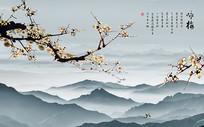 梅花山水画背景墙
