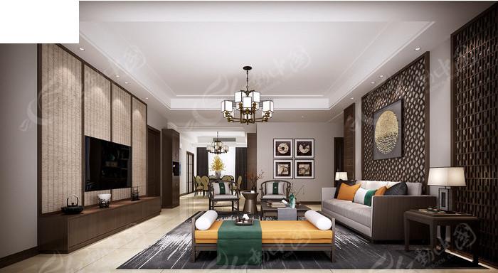 轻奢新中式客厅模型