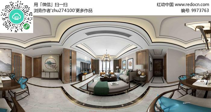 轻奢新中式全景模型
