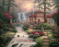 塞拉河瀑布油画