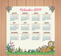 2019年可爱猫捉老鼠年历