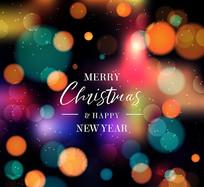 彩色光晕圣诞新年贺卡