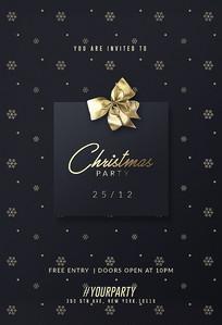 黑金圣诞派对主题海报psd