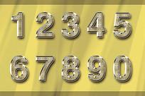 黄金数字金属字体