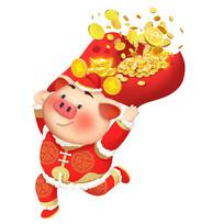 扛着金子的小猪