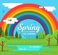 卡通春季郊外彩虹风景