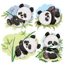可爱熊猫和竹子