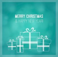 蓝绿色圣诞礼盒背景