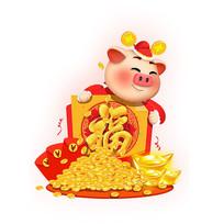 拿着金银珠宝的猪