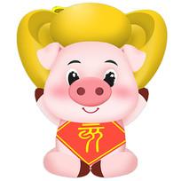 拿着珠宝的猪