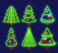 漂亮霓虹灯圣诞树