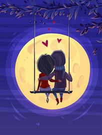 秋千上赏月情侣背影