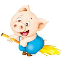 骑在扫把上的猪