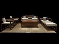 中式沙发3D模型