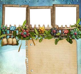 可爱蘑菇相框-怀旧纸张背景