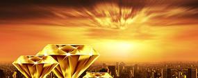黄昏都市鸟瞰 钻石 房地产PSD素材
