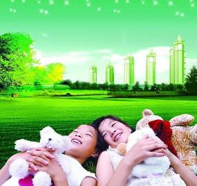 躺在草坪上的小女孩 房地产PSD素材
