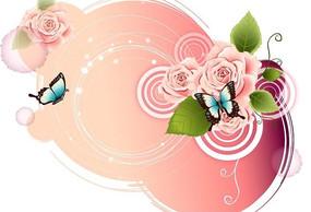 粉色背景 蝴蝶 粉色花卉