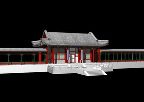 3D中国古代建筑走廊模型