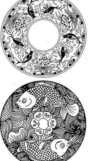圓形魚類吉祥圖案