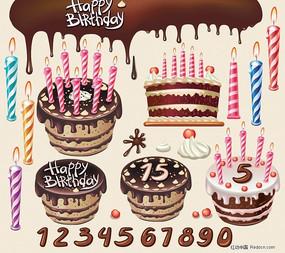 漂亮生日蛋糕主题矢量素材