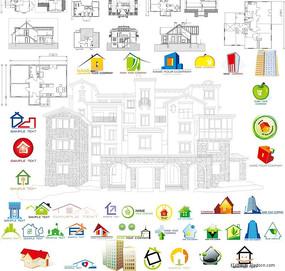 房子房屋图形矢量素材  平面图