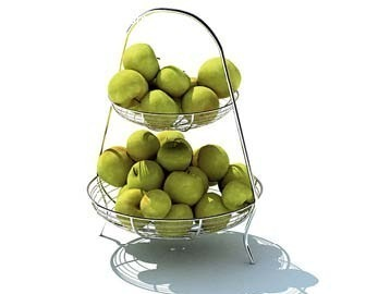 双层不锈钢水果篮3D模型图片