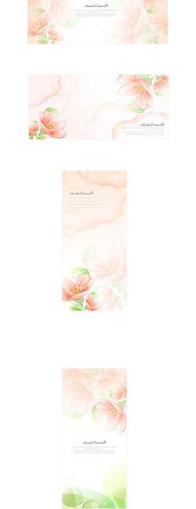 淡粉色花朵墨迹矢量素材