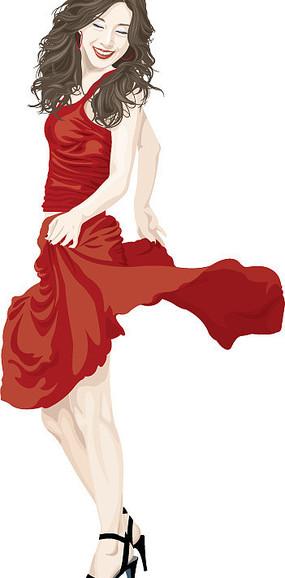 插画-提裙子的女孩
