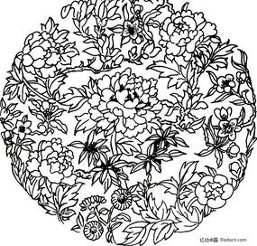 花卉图案 白描花纹