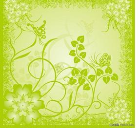 花丛植物花纹矢量图