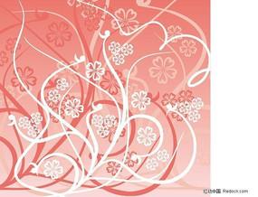 2色藤蔓植物花纹矢量图