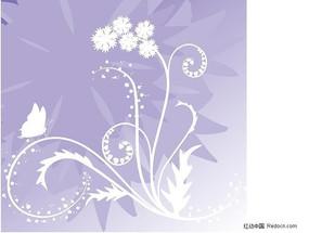 蝴蝶梦幻花植物花纹矢量图