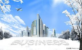 韩国雪景浪漫冬季房地产PSD分层模板