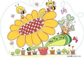 手绘风可爱向日葵矢量图
