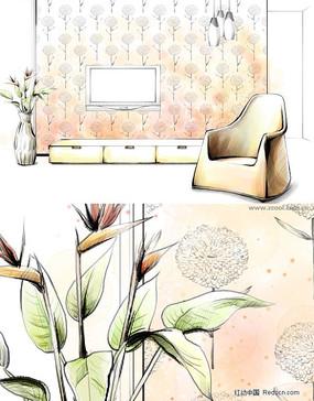 彩铅手绘室内效果图-电视墙