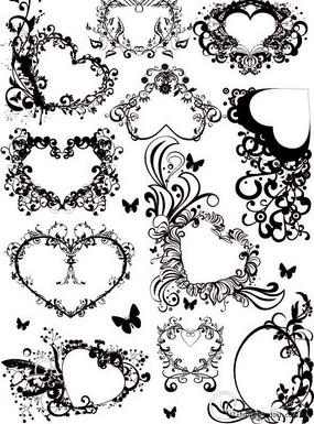 心形花紋花邊矢量圖