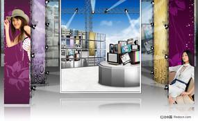 时尚商业展厅展台海报PSD分层模板