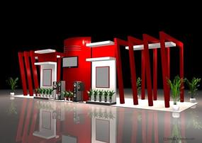 走廊式單邊展示中心展覽展臺展柜展示空間