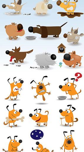 可爱卡通造型小狗矢量素材